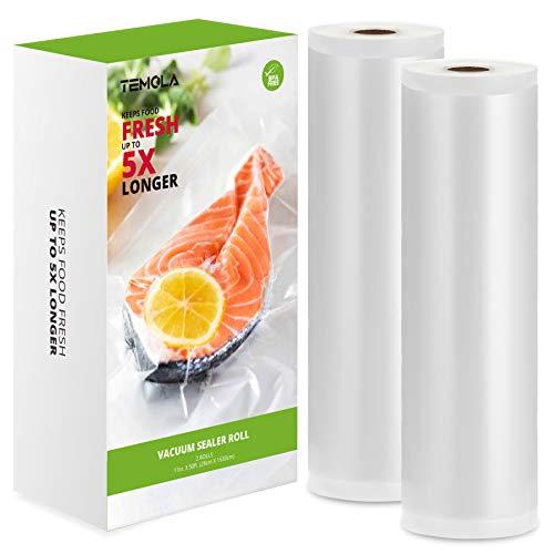 Vakuumbeutel, vakuumierbeutel für Lebensmittel, TEMOLA 28x1530cm 2 Rollen vakuumierfolie, BPA-frei Eingeprägte Luftrillen, Sehr Stark & Reißfest, für Mikrowellen geeignet und Sous Vide Vakuumierer