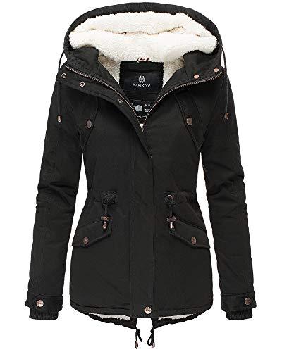 Marikoo Damen Parka Damen Jacke Winter Mantel Kapuzenjacke Damenjacke MNLYA70 (S, Schwarz)