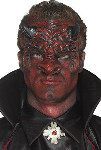 SMIFFYS Protesi testa del diavolo in schiuma di lattice, Rossa, con adesivo