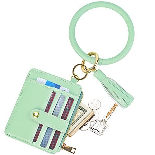 COOLANS Wristlet Bracelet Keychain Card Holder Card Pocket PU Leather Purse Tassel Keychain Bangle Key Ring for Women Girls (Purse 02 Green)