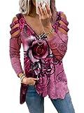 HEVCLAO Camisas de manga larga para mujer, con estampado de rosa, con cuello en V, sueltas y sueltas, blusas suaves, Rosa Roja, S