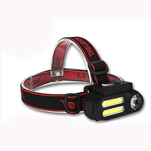Faro LED, linterna de faro súper brillante, 4 modos 18650 USB, recargable, impermeable, ajustable, para correr, senderismo, camping, pesca, caza