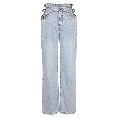 Qinvern Vaqueros de Mujer Moda Streetwear Sexy Cadena Hueca Vaqueros Lavados a la Piedra Pantalones de Pierna...