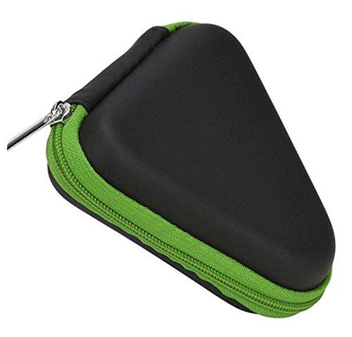 Qinlee Mini triángulo caja con cremallera, color negro, joyero para pendientes, auriculares, cable USB, anillos, collares, caja de almacenamiento (verde)