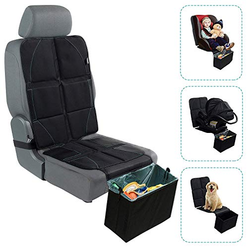 BABYSEATER Car Seat Protector for Child Car Seat with Folding Trash Can - Car Seat Covers Front Seats Only - XL Carseat Pad, Thick Padding, Waterproof, Fits All Vehicles - Keeps Your Seats Clean