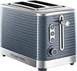 Russell Hobbs 24373 Grey Inspire 2 Slice Toaster, Wide Slot with Frozen, Cancel and Reheat Settings, High Gloss Chrome Accents, 1050 W