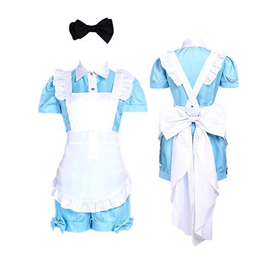 Tokisaki Kurumi Anime Black Butler Costume Kuroshitsuji Ciel Phantomhive Maid Uniform Cosplay Dress Girls Woman Waitress Maid Party Halloween Costumes (M, Blue)