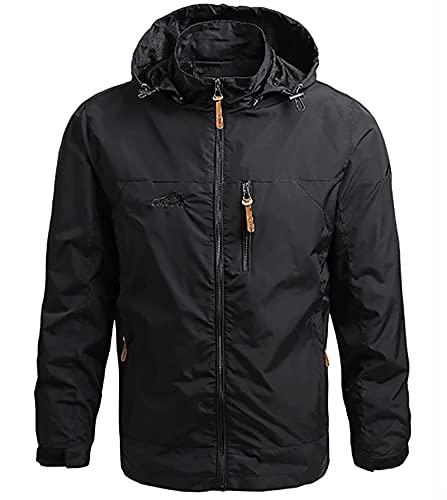 SKYWPOJU Chaquetas Softshell para Hombre Impermeable Militar Ligero Esquí al Aire Libre con Cremallera Chaqueta con Capucha (Color : Black, Size : M)