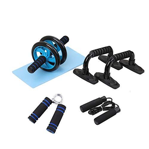 LXLTLB AB Wheel Roller Kit 5-in-1 AB-Roller Bauchtrainer Fitness Bauchpresse Rad Push-up bar Handgreifer Springseil Knieschoner Kostenlose Heim-Fitnessgeräte für Heimtraining Gym Muskelkraftübung