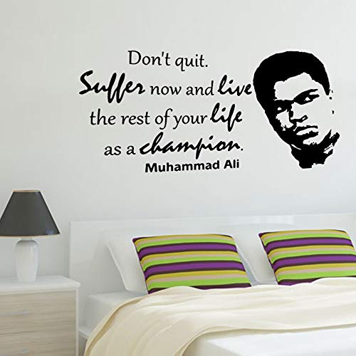 HNXCWR123 Boxing Ali Vinyl Sticker Inspiration Quote Decal Gym Studio Boxing Club Wall Art Sticker Wallpaper 78x42cm No.1 black