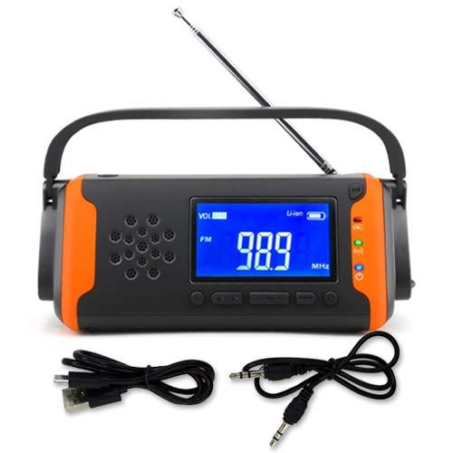 ◆1年保証付◆ 多機能ラジオ 防災ラジオ 防災 LEDライト スマホ充電 ソーラー充電 コンパクト ポータブル 手回し オレンジ