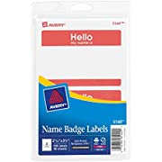 Avery Print or Write Name Badge Labels with Red Border