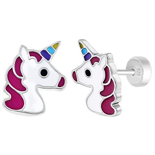 Pendientes de plata de ley 925 con diseño de unicornio multicolor para niñas