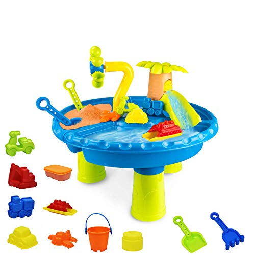Tekonio 22 Pcs Kids Sand and Water Table Toy Toddler Summer Beach Toys Set Colorful Play Table Detachable Legs Outdoor Indoor Beach Play Activity Table Sandbox for Kids Boys GirlsIncluded Sand