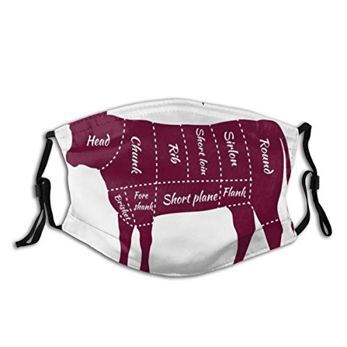 Cow Bull Fleisch schneidet Rindfleisch Teil Short Plate Schema Lende Cooking Grill Food Agriculture Chart,StaubwaschbarerwiederverwendbarerFilterundwiederverwendbarerMundschutzgesicht