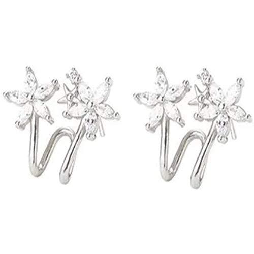 Clip de doble flor de circón, clip de oreja de arco de flor de circón, pendientes de tuerca para mujer, plata