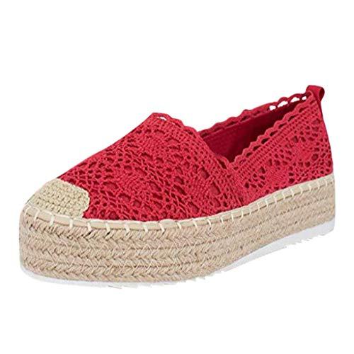 Lucky Mall Frauen Segeltuch Ausschnitt Plateau Freizeitschuhe, Damen Lässiges Schuhe mit Gewebtem Boden, Sandalen mit Keilabsatz Atmungsaktive Sandalen Sommer Strandschuhe