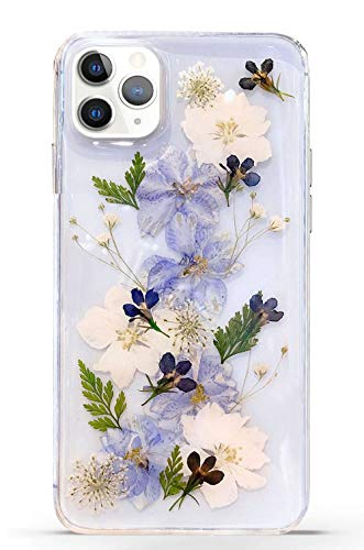 Abbery for iPhone 11 Pro Max Flower case, Clear Soft TPU Flexible Rubber Pressed Dry Real Flowers Case for iPhone 11 Pro Max (Navy Flower)