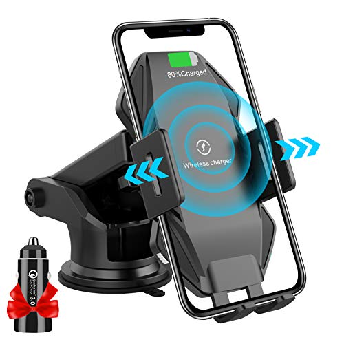 Flashda 15W Wireless Car Charger Mount, Electric Auto-Clamping Dashboard/Air Vent/Windshield Phone Holder, Qi Fast Charging Compatible iPhone 12/12 Pro Max/XS/X,Samsung S20/S10/Note10 and More