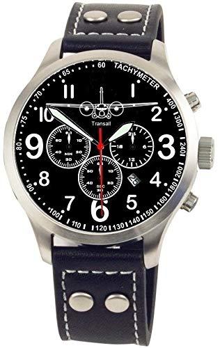 IMC Fliegeruhr C-160 Transall Männer Herren Chronograph Armbanduhr Uhr Lederarmband Gehäuse aus Edelstahl
