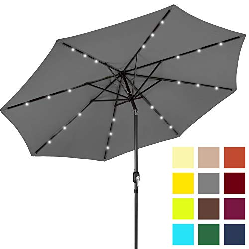 Best Choice Products 10-Foot Solar Powered Aluminum Polyester LED Lighted Patio Umbrella w/Tilt Adjustment and Fade-Resistant Fabric, Gray