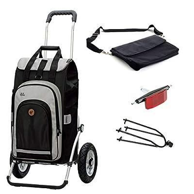 Andersen Einkaufstrolley Royal luftbereift mit Fahrrad Anhängerkupplung und 62 Liter Einkaufstasche Hydro 2.0 schwarz mit Kühlfach, extra Laptoptasche