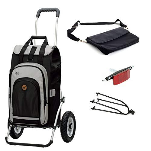 Andersen Einkaufstrolley Royal luftbereift mit Fahrrad Anhängerkupplung und 62 Liter Einkaufstasche Hydro schwarz mit Kühlfach, extra Laptoptasche