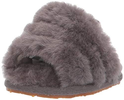 UGG Kids' Fluff Yeah Slide Slipper, Charcoal, 4