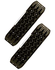 AOR Universal HD Recovery Sand Plate Set - Durable Board with Textured Patterns for Improved Traction - Rescue Tool for Small and Heavy Vehicles Stuck in Sand Dunes and Off-Road Terrain - Black