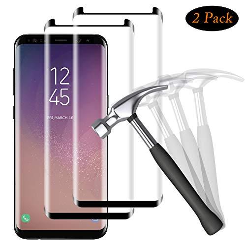 NUOCHENG Protector de Pantalla para Samsung Galaxy S8 Plus, 2 Pack Cristal Vidrio Templado de [3D Cobertura] [No Burbujas] [Alta Sensibilidad] Protector de Pantalla para Galaxy S8 Plus