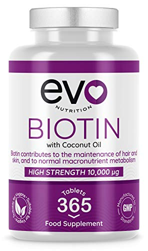 Biotin Hair Growth Supplement 10,000mcg | 365 Vegan Tablets - 1 Year Supply | With Coconut Oil | Vitamin B7 | For Maintenance of Normal Hair & Skin | Made in UK by Evo Nutrition