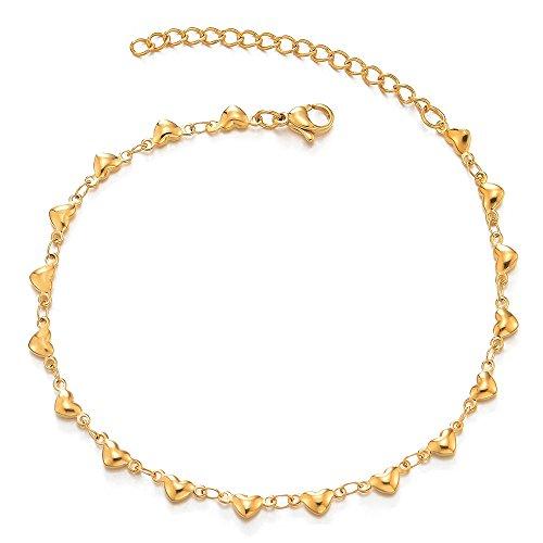 COOLSTEELANDBEYOND Edelstahl Damen Mädchen Gold Puff Herz Gliederkette Fußkette Fußkettchen, Verstellbare