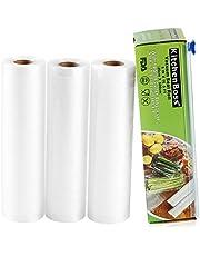 KitchenBoss Vacuümrollen met cutterbox, 4 rollen 15 x 500 en 20 x 500 cm folierollen BPA-vrij voor alle vacuümverpakkers, sterk & scheurvast & kookvast & herbruikbaar voor sous-vide