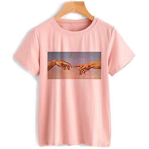 T-Shirt Femme Femme Vintage T Shirt Mains Vogue Esthétique Graphique Tshirt M 8508-Rose