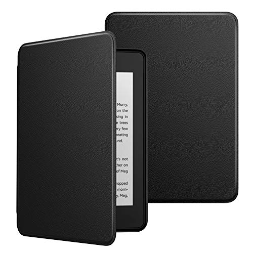MoKo Hülle für Amazon Kindle Paperwhite E-Reader, Ultra Slim Lightweight Kunstleder Schutzhülle Smart Cover mit Auto Sleep/Wake für Kindle Paperwhite (10. Generation – 2018) - Schwarz