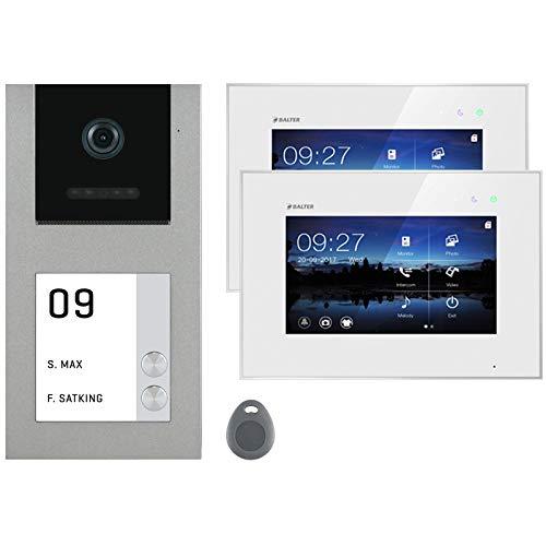Balter EVO Silver Video Türsprechanlage Aufputz ✓ 7 Zoll Touchscreen Monitor ✓ 2-Draht Bus mit RFID ✓ Set für 2 Familienhaus Türklingel ✓ 120° Weitwinkel Kamera