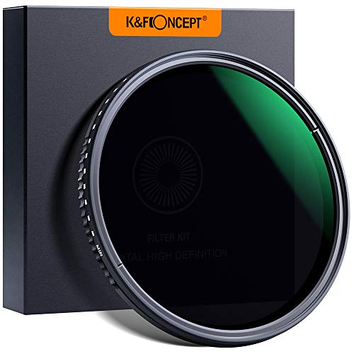 K&F Concept Variabler Graufilter 82mm Variable ND Filter ND8-2000 (3-11 Stop) Neutral Dichte Graufilter