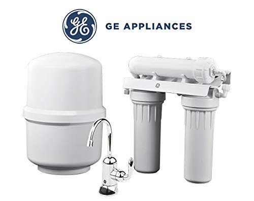 GE Appliances Reverse Osmosis Under Sink 3 Stage Water Filtration System GXRM10RBL Filters Lead, Fluoride, Chlorine, Cysts, Arsenic, Cadmium 6 (NSF/ANSI 58)