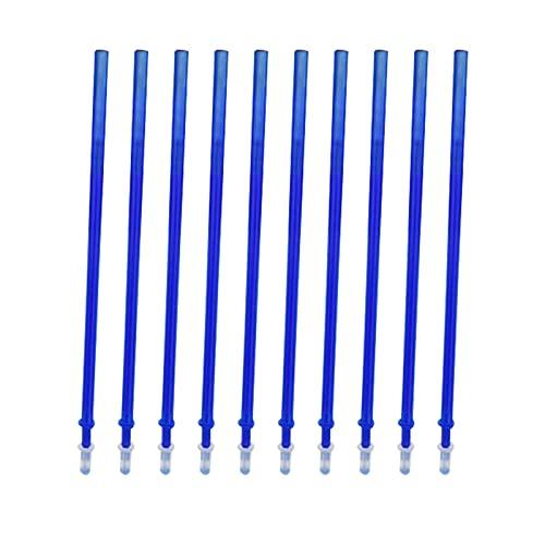 Aibecy Recambios de bolígrafo de tinta de gel borrable de tinta azul, recarga de bolígrafo de gel de repuesto de 0,5 mm de punta fina para bolígrafos borrables, 10 piezas