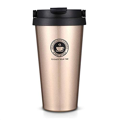 GETKO WITH DEVICE 500ml Double Wall Stainless Steel Vacuum Flask Car Thermos Mugs with Handle Coffee Tea Travel Thermal Bottle Tumbler Thermocup Vacuum Flasks & Thermos- Golden