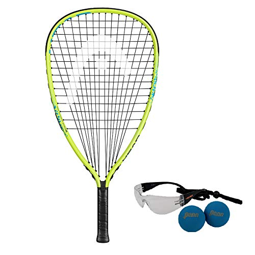 HEAD MX Hurricane Pack - Beginners Pre-Strung Racquetball Racket w/ Goggles & Two Balls