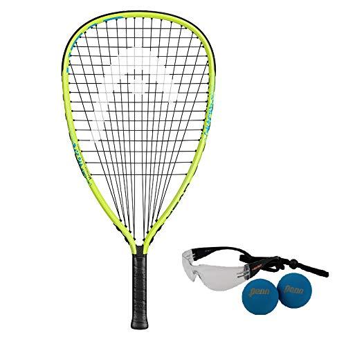 HEAD MX Hurricane Pack - Beginners Pre-Strung Racquetball Racket Set w/ Goggles & Two Balls
