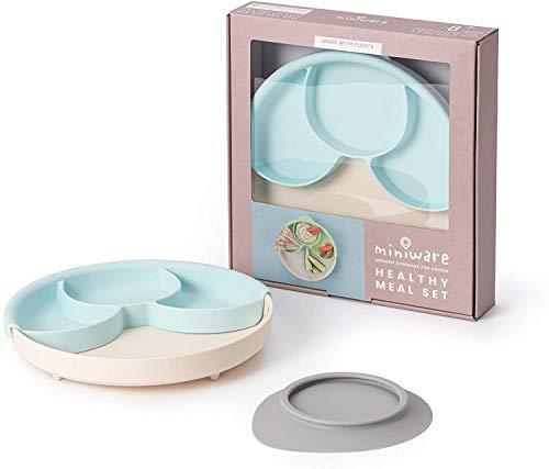 ティーレックス 出産祝い miniware 幼児と環境にやさしいキャッサバ由来の素材で作られたひっくり返らない食器 仕切り付きミールセット アクア