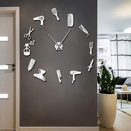 The Geeky Days DIY Barber Shop Giant Wall Clock with Mirror Effect Barber Toolkits Decorative Frameless Clock Watch Hairdresser Barber Wall Art(Silver)
