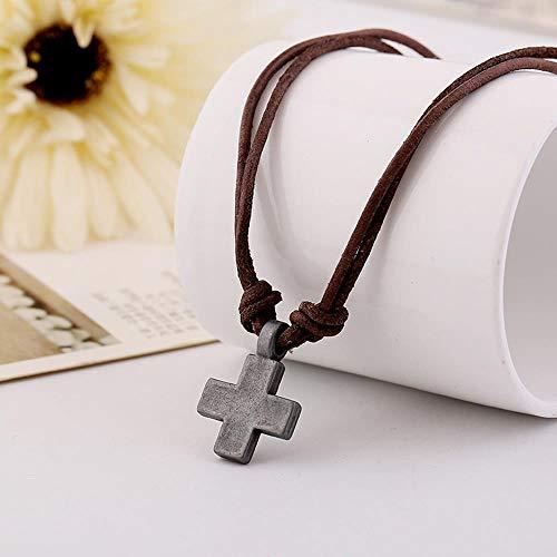 Preisvergleich Produktbild JPZCDK Retro Herren Europäisch Amerikanisches Leder Halskette Legierung Kreuz Halskette Grobe Kette Modeschmuck Dekoration