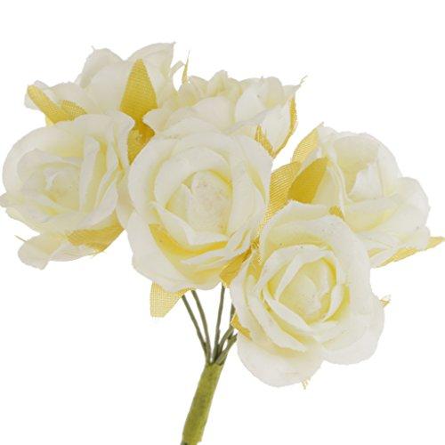 Blesiya 60 Pezzi Artificial Rosa di Seta per Bouquet da Sposa Polso Fiore Compleanno Festa - Avorio