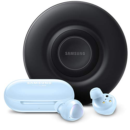 Samsung Galaxy Buds+ Plus, True Wireless Earbuds w/improved battery and call quality, Cloud Blue & Certified Fast Charge Wireless Charger Pad (2019 Edition) with Cooling Fan US version