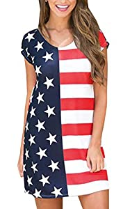 4th of July Women's Short Sleeve Casual Loose Stripe Star Patriotic Mini T Shirt Dress American Flag XL from