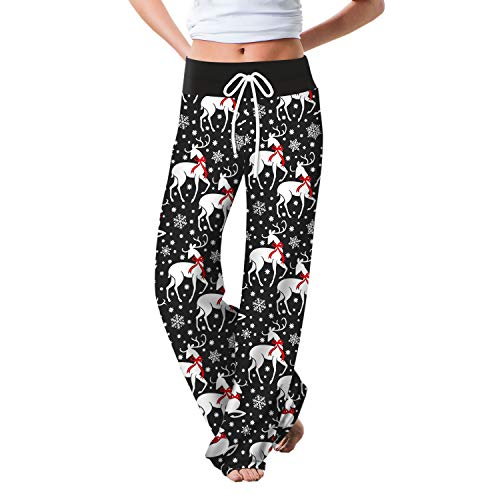 TimNas Women's Christmas Loose Pajama Bottoms Snowflake Plaid Print Drawstring Lounge Pants Wide Leg Trousers for Yoga Pint#5 L/XL