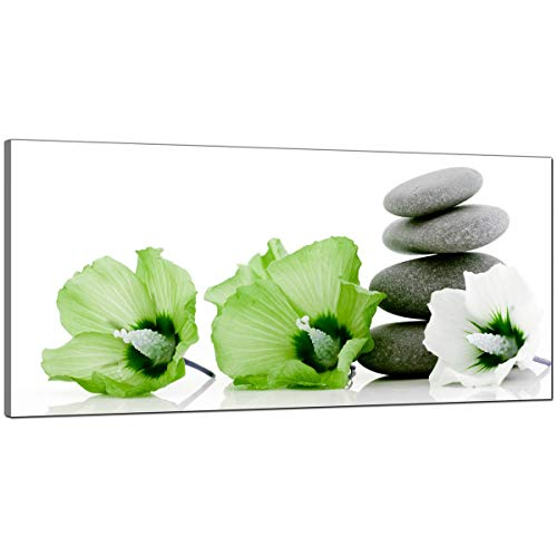 Large Canvas Pictures of Lime Green Flowers and Grey Pebbles - Cheap Floral Wall Art - 1070 - Wallfillers® by Wallfillers
